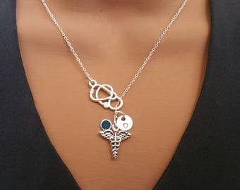 Medical Caduceus MD Gift Handstamped Personalized Crystal Birthstone Initial Lariat Style Necklace