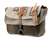 Messenger Crossbody Bag, Canvas Messenger Bag, Laptop, Recycled Leatherjacket Belgian Military Post Bag / Upcycled in GERMANY - 2023 classic