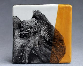 Hand Painted Frilled Lizard Portrait Wall Tile Deep Yellow