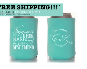 Custom Wedding Collapsible Can Coolers - Happiness is being married to your best friend