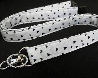 Gray Lanyard, Tribal Triangle Fabric Lanyard Options   Breakaway, Single & Double Detachable Breakaway Lanyard Wristlet College Student Gift