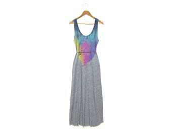 "Grey Spectrum Rainbow Dress - Original ""Splash Dyed"" Hand PAINTED Scoop Neck Maxi Length Dress in Heather Grey - Women's Size S-XL"