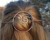 Celtic hair slide with lapis lazuli Circle hair barrette Hair stick Metal hair pin Rustic copper barrette Shawl pin Womens gift For her