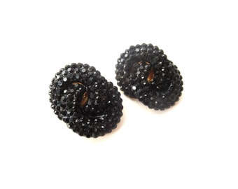 Pair of Unmarked Glam / Glamorous Double Ring Black Rhinestone & Gold Tone Metal Vintage Clip on Earrings