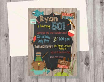 DIGITAL Chalkboard & Wood Style Fishing Man Birthday or Retirement Invitation Printable Add a Photo