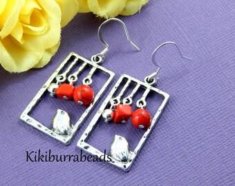 Bird Earrings, Silver Bird Earrings, Red Coral Earrings