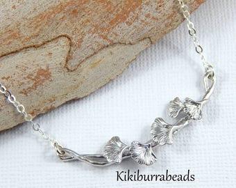 Leaf Necklace, Silver Leaf Necklace,Ginkgo Necklace,Silver Ginkgo Bar Necklace,Layering Necklace