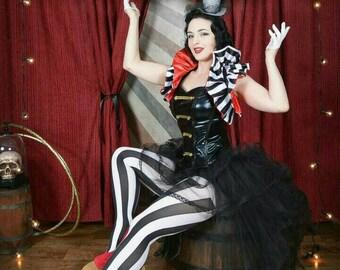 Dramatic Cosplay Ringmaster Burlesque Circus Harley Quinn Vegas Showgirl Collar Bolero wrap Sale