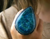 RESERVED - Teardrops in the Ice - Dragon Veins Agate Sterling Silver Ring