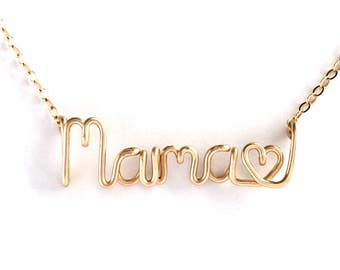 Mama Heart Name Necklace. 14k Gold Filled Mother's Day Necklace. Aziza Jewelry