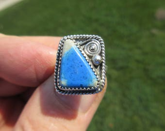 BLUE BEAUTY from BEYOND - Sterling Silver Mokaite Ring - Size 7 1/4 - Free Resizing