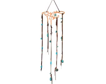 Copper Art, Up-cycled Copper Mobile, Upcycled Mobile, Wall hanging, Bohemian Mobile, Natural Gemstone Mobile, Modern Dreamcatcher Boho Decor