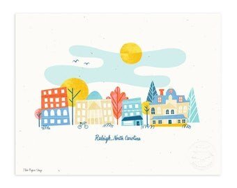 Raleigh, North Carolina Illustrated Art Print