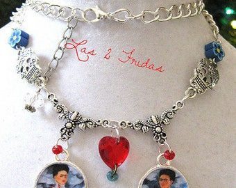 Frida KAHLO necklace Charms pendants sacred heart day of the dead necklace Fiesta mexicana necklace folk altered art Dia de los Muertos