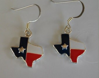 State of Texas  and Texas Star Red White Blue Dangle Earrings Texas Flag State of Texas