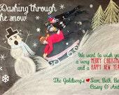 Dashing Through The Snow Chalk Art Holiday Card
