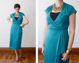 1970s Teal Wrap Dress - S