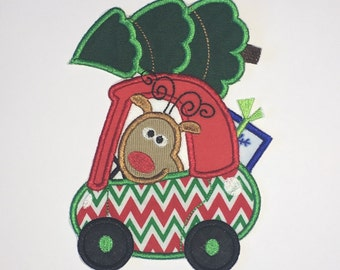 "Embroidered Iron On Applique ""Reindeer Car"""