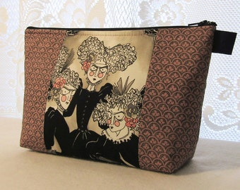 X Large Ghastlies Fabric Cosmetic Bag Zipper Pouch Padded Makeup Bag Zip Pouch Victorian Grislie Sisters Mauve Black Ghastlie Gallery GGM