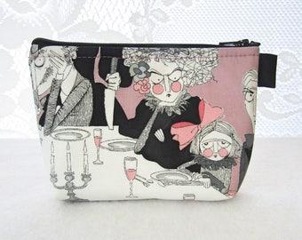 Makeup Bag The Ghastlies Cordelia Hammer Girl Fabric Gadget Pouch Cosmetic Bag Fabric Zipper Pouch Alexander Henry Gray Ghastlie Night GNM