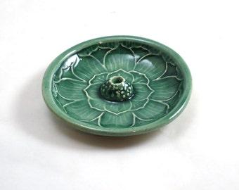 Lotus Incense Burner Handmade STONEWARE CELEDON Ceramic Pottery