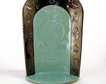 Gaia's ALTAR Mother Earth Handmade Ceramic Raku Pottery