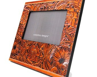 brown leather print picture frame - made with recycled magazines - looks like leather, unique, recycled, 4x6, floral, modern,interior design