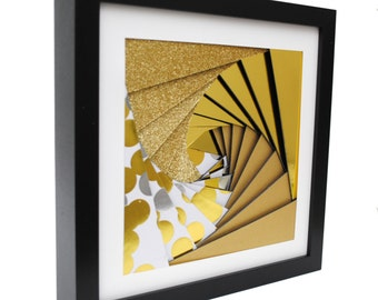 sparkles GOLD pinwheel shadowbox- made from recycled magazines,shiny,modern,sparkles,unique,colorful,handmade,interior design
