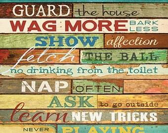 Dog Rules Wall Art,Marla Rae,16x20 Wooden Art Plaque