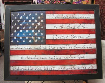 Partiotic Wall Decor,Pledge Of Allegiance,American Flag,Handmade Distressed Frame,Marla Rae,261/2x201/2
