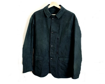 Brushed Black Cotton Artisan Work Wear Jacket Coat
