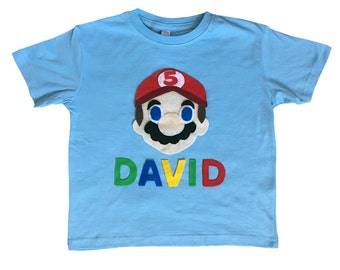 Mario Birthday Shirt - Kids Light Blue T-Shirt - Name and Age - Personalized - Gift
