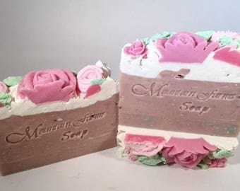 Just A Rose, Handcrafted-Cold Process Soap-Floral Soap-Natural-Soap-Artisan-Gift for Her-Mother's Day-Rose Soap-Abbotsford-BC-Canada