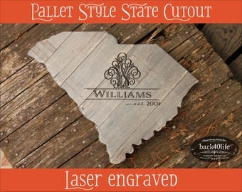 Pallet style state cutout with engraved monogram (W-076) - wedding guest book photo prop vintage shabby chic cottage decor
