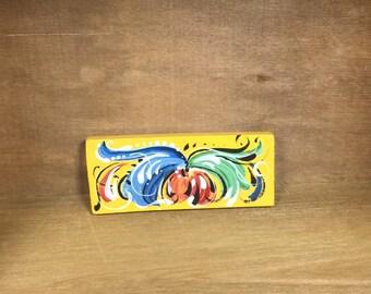 Norwegian rosemaled rectangle pin