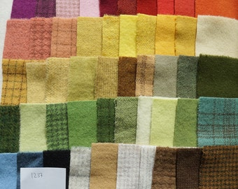 SALE Hand Dyed Felted Wool Scraps Bundle Number 1237 By Quilting Acres