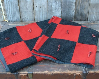 Awesome Orange and Black Wool Tied Throw / Cover