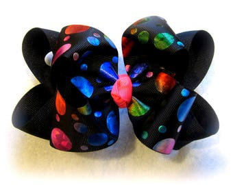 girls hairbows, boutique hair bow, layered bow, black hairbow, foiled bow, rainbow bow, bright colored bows, glitter bow, pink hair bow,