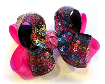 girls hairbows, boutique hair bow, sequin hairbow, pink bows, sequin bows, glitter hairbows, sparkle hair bow, large bows, stacked bows,