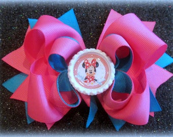 Minnie Mouse hairbow, Minnie Bows, Minnie hair bow, Layered Boutique bow, Magical Hairbow, Minnie Band, Pink Minnie bow, Baby Girls Bows