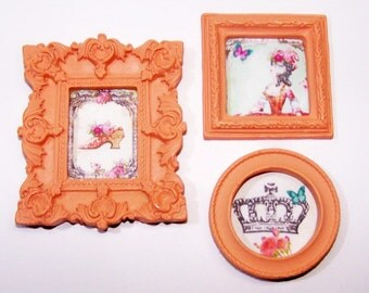 Dollhouse Decor, Miniature Picture, Dollhouse, Marie Antionette, Paris, Roses, French, Queen, Crown, Peach, Orange, Mini Home Decor, Artwork