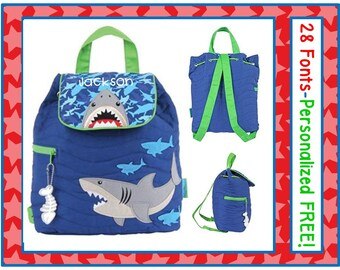 28 FONTS Toddler Boy's Personalized SHARK Camo Quilted Backpack Monogrammed FREE- Diaper Bag/ Day Care/ Book Bag