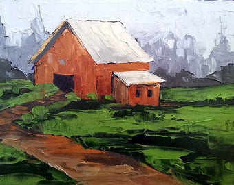 Original Impressionist Painting FARM BARN Meadow GARDEN Landscape 11x14 Lynne French