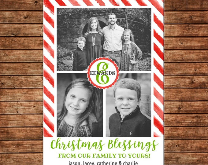 Photo Picture Watercolor Red Stripe Christmas Blessings Monogram Scallop - Digital File