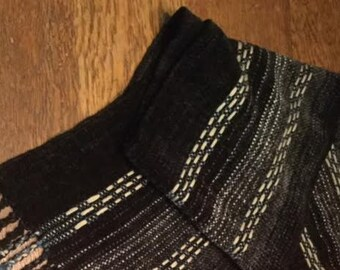 Handwoven Black Chenille Scarf