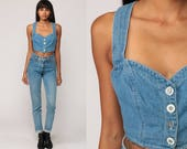 Denim Shirt Crop Top BUSTIER Top Denim Tank Top Jean Shirt Y BACK 90s Grunge Cropped Shirt 1990s Vintage Blue Summer Button Up Small