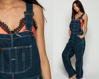90s Denim Overalls Women Pants Grunge Dark Baggy Boyfriend Long Jean 80s Suspender Hipster Vintage Jumpsuit Large