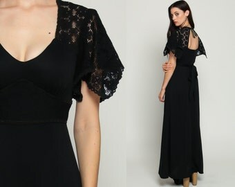 Black Maxi Dress 70s Bohemian SHEER LACE Gothic Cut Out BACKLESS Party Boho Hippie Goth 1970s Vintage Empire Waist Flutter Sleeve Small xs