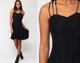 Black Mini Dress 80s STRAPPY Mini Cage Skater Criss Cross Party Vintage 1980s Backless LBD Grunge Hipster Cocktail Sweetheart Extra Small xs