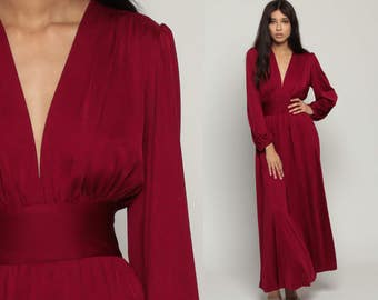 70s Maxi Dress GRECIAN Goddess Plunging Neckline Burgundy Deep V Neck Party 1970s Long Empire Waist Vintage Long Sleeve Large